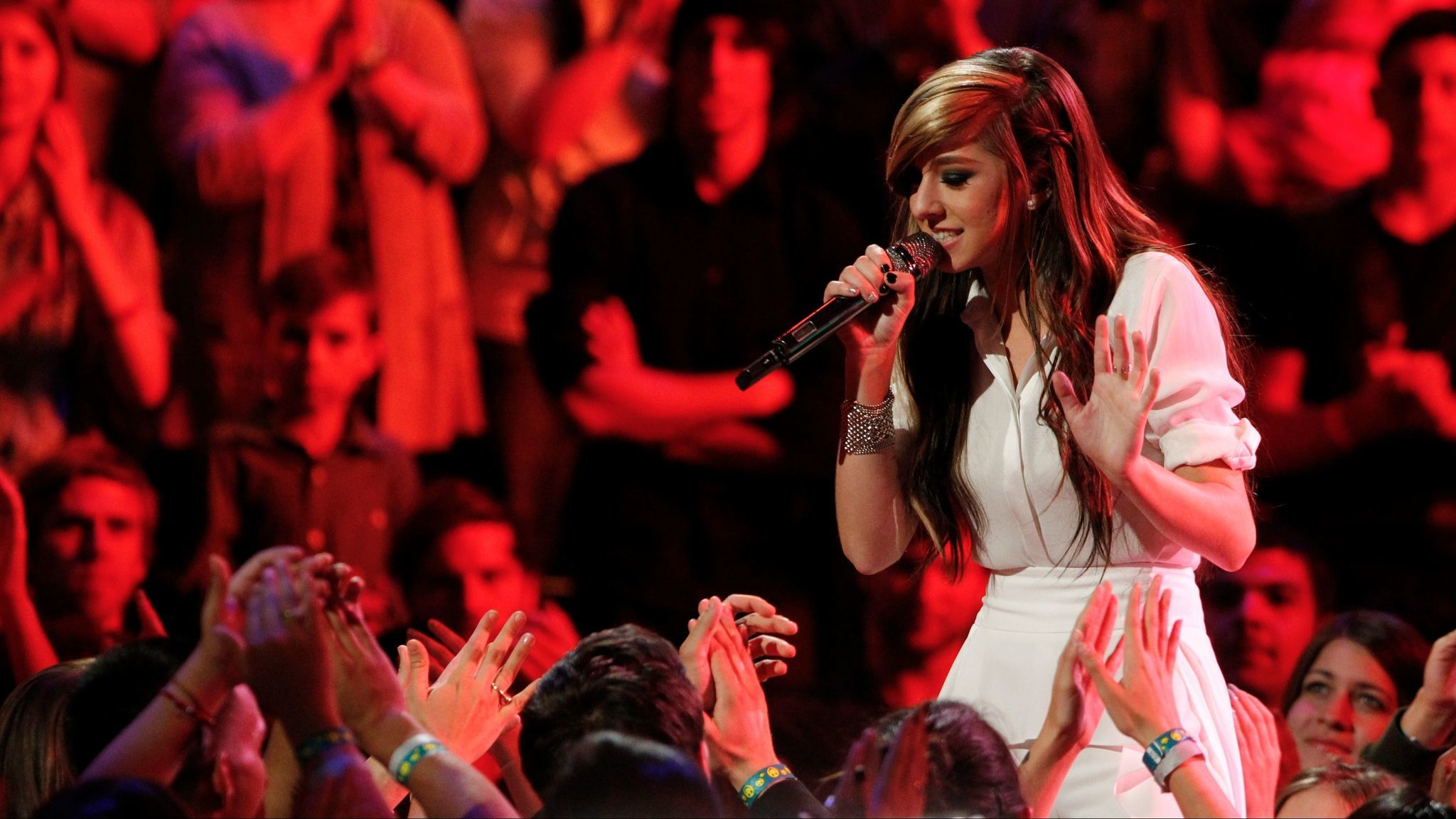 """Christina Grimmie performs on NBC's """"The Voice"""" in 2014."""