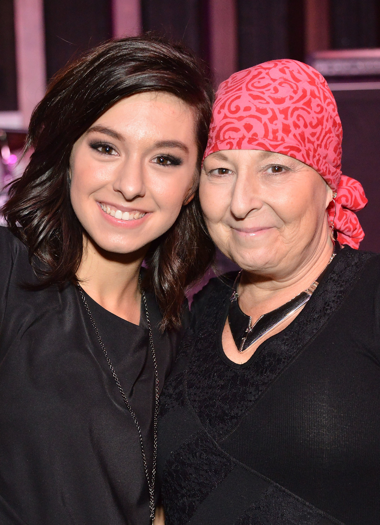 Christina Grimmie and her mother Tina attend the Hard Rock Cafe Hollywood's PINKtober campaign kick off on Oct. 8, 2014 in Hollywood, California.