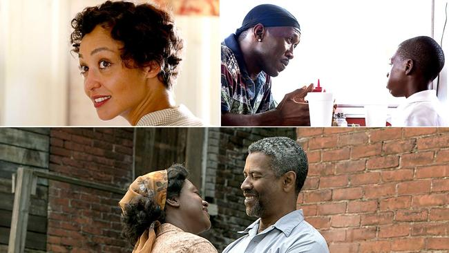 "Ruth Negga in ""Loving,"" top left, Mahershala Ali, left, and Alex Hibbert in ""Moonlight,"" and Viola Davis and Denzel Washington in ""Fences."" (Ben Rothstein/Focus Features / David Bornfriend/A24 / David Lee/Paramount Pictures)"