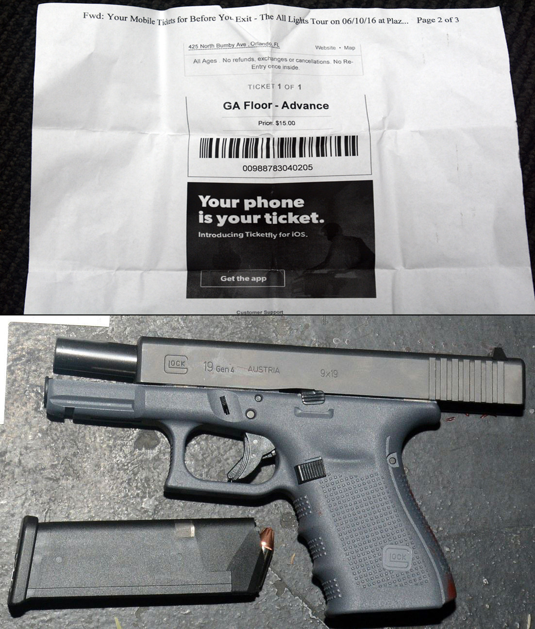 Loibl's $15 concert ticket and one of the two guns he purchased.