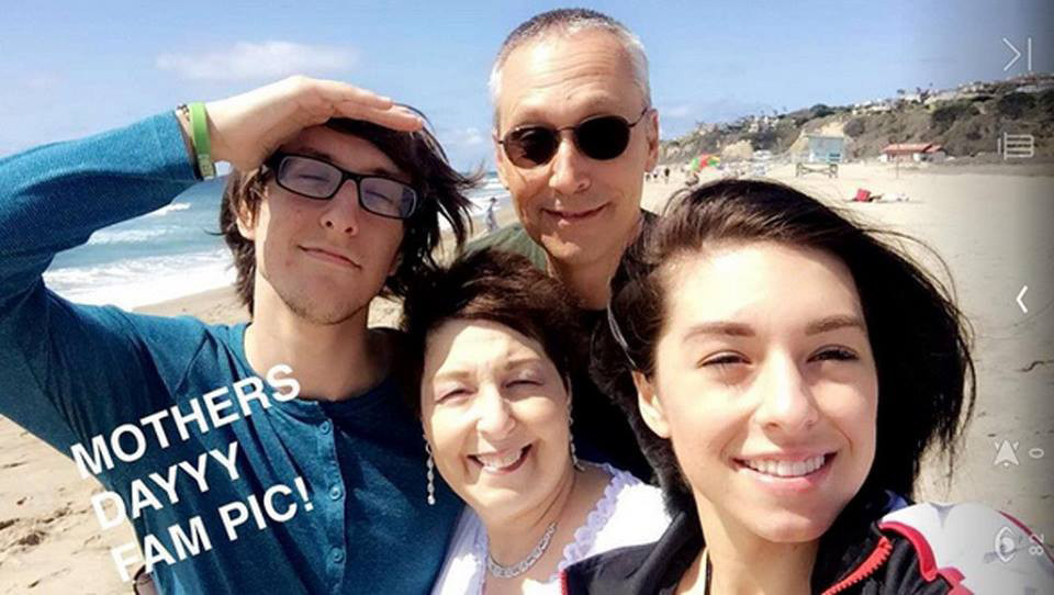Christina and Mark Grimmie with their parents on Mother's Day.