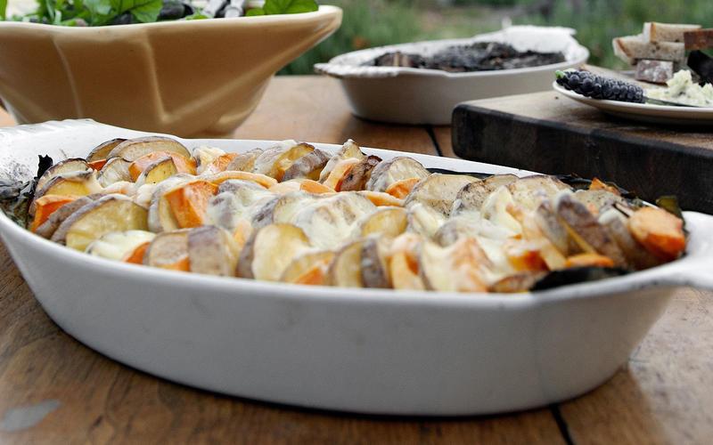 Squash and potato gratin