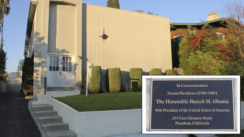 A photo illustration shows the Pasadena apartment building where Barack Obama lived and a commemorative plaque.