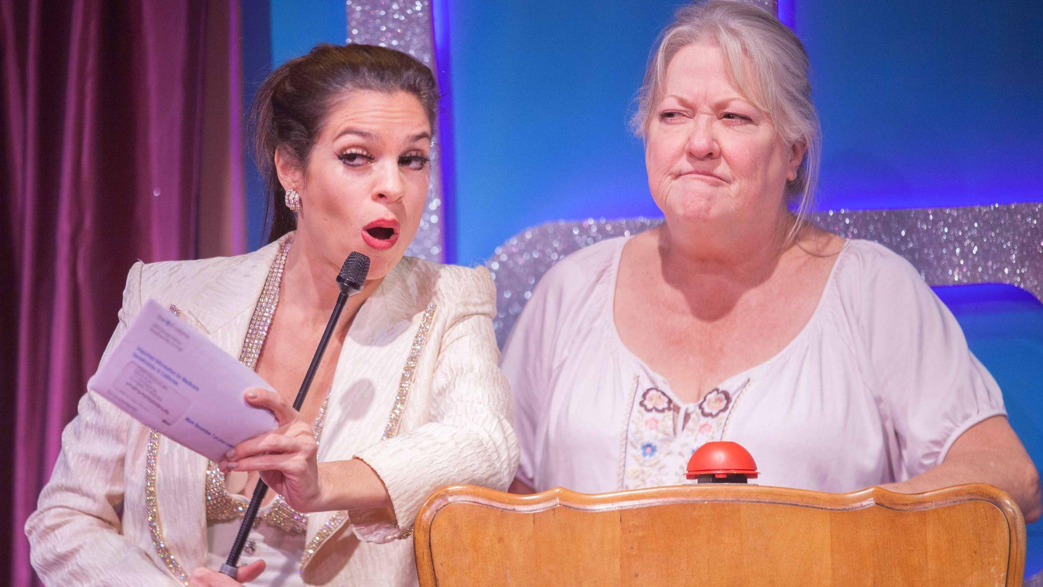 "Paula Christensen, left, and Bonnie Bailey-Reed in Rogue Machine's presentation of Deb Hiett's ""The Super Variety Match Bonus Round!"" (John Perrin Flynn)"