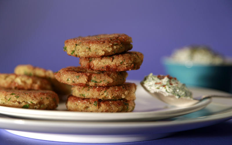 Lentil latkes with chard yogurt sauce