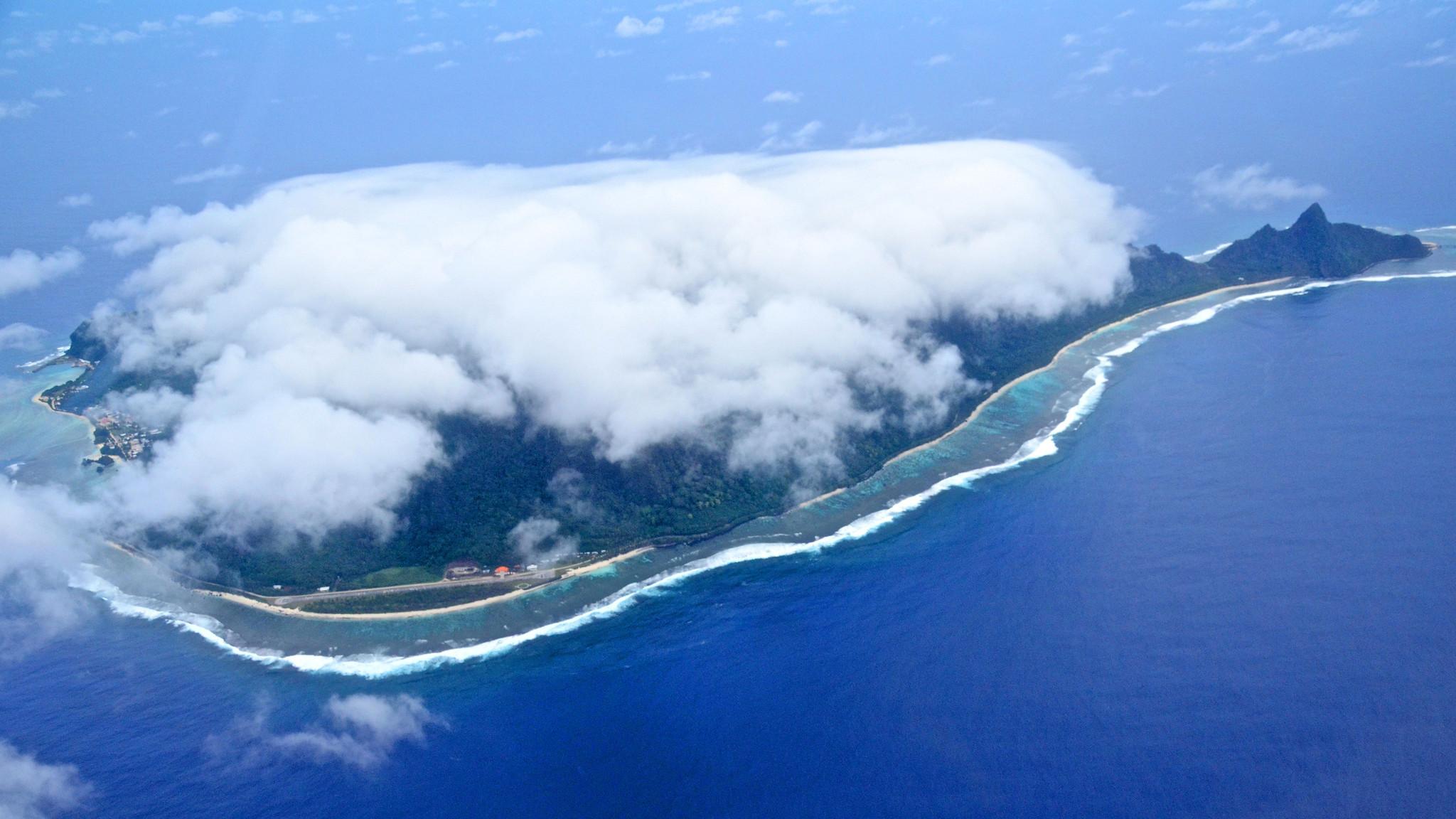 An aerial view of the American Samoa island of Ofu.