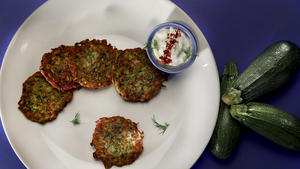 Zucchini latkes with feta and dill