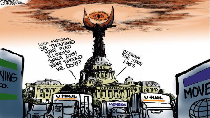 Illinois exodus – Scott Stantis Cartoon – Chicago Tribune