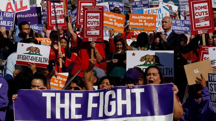 State Sen. Ed Hernandez speaks at a rally at Los Angeles County + USC Medical Center. (Francine Orr / Los Angeles Times)