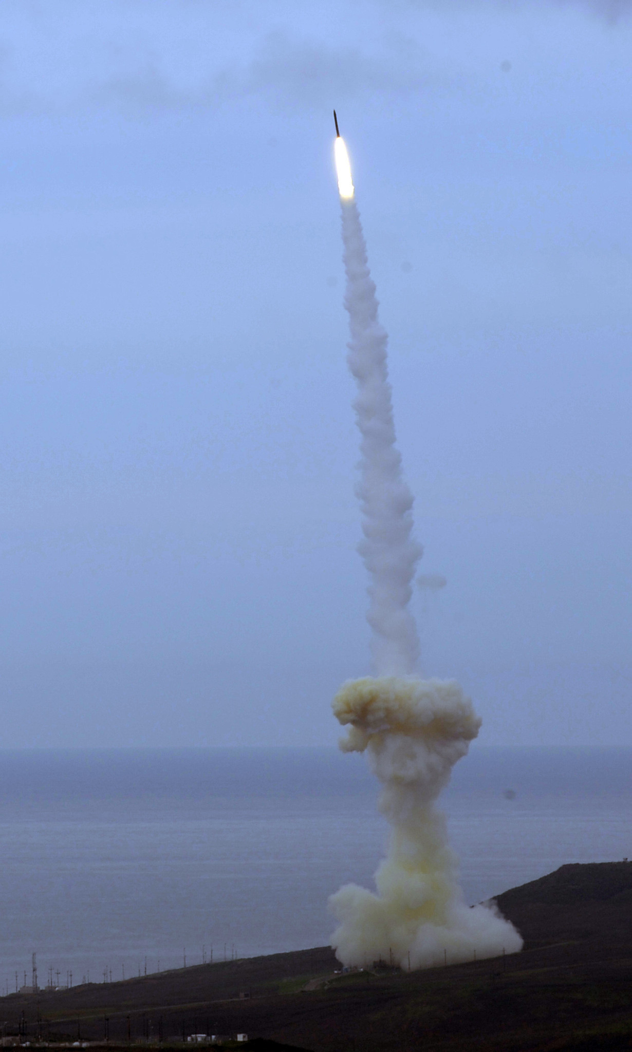 A rocket interceptor is launched from Vandenberg Air Force Base on Dec. 15, 2010. The interceptor's kill vehicle failed to intercept and destroy a mock enemy warhead.