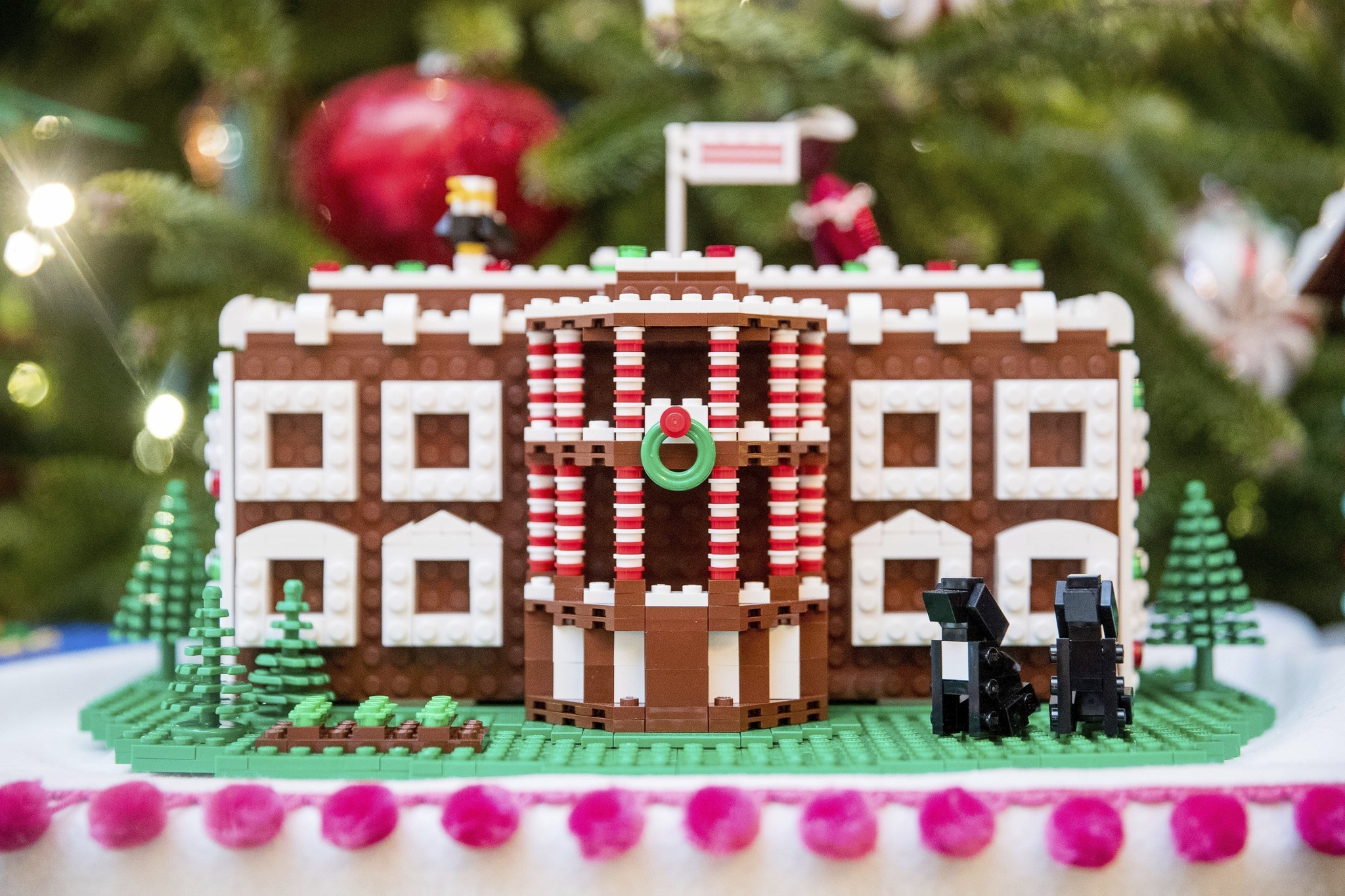 Holiday decorations at the white house are displayed during a press - Child S Play Lego Master Builders Show Work At White House Hartford Courant