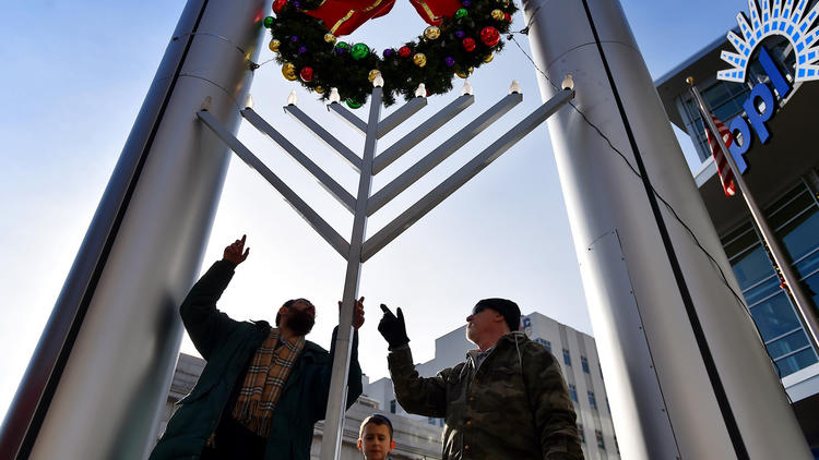 PICTURES: Raising the Menorah for Hanukkah