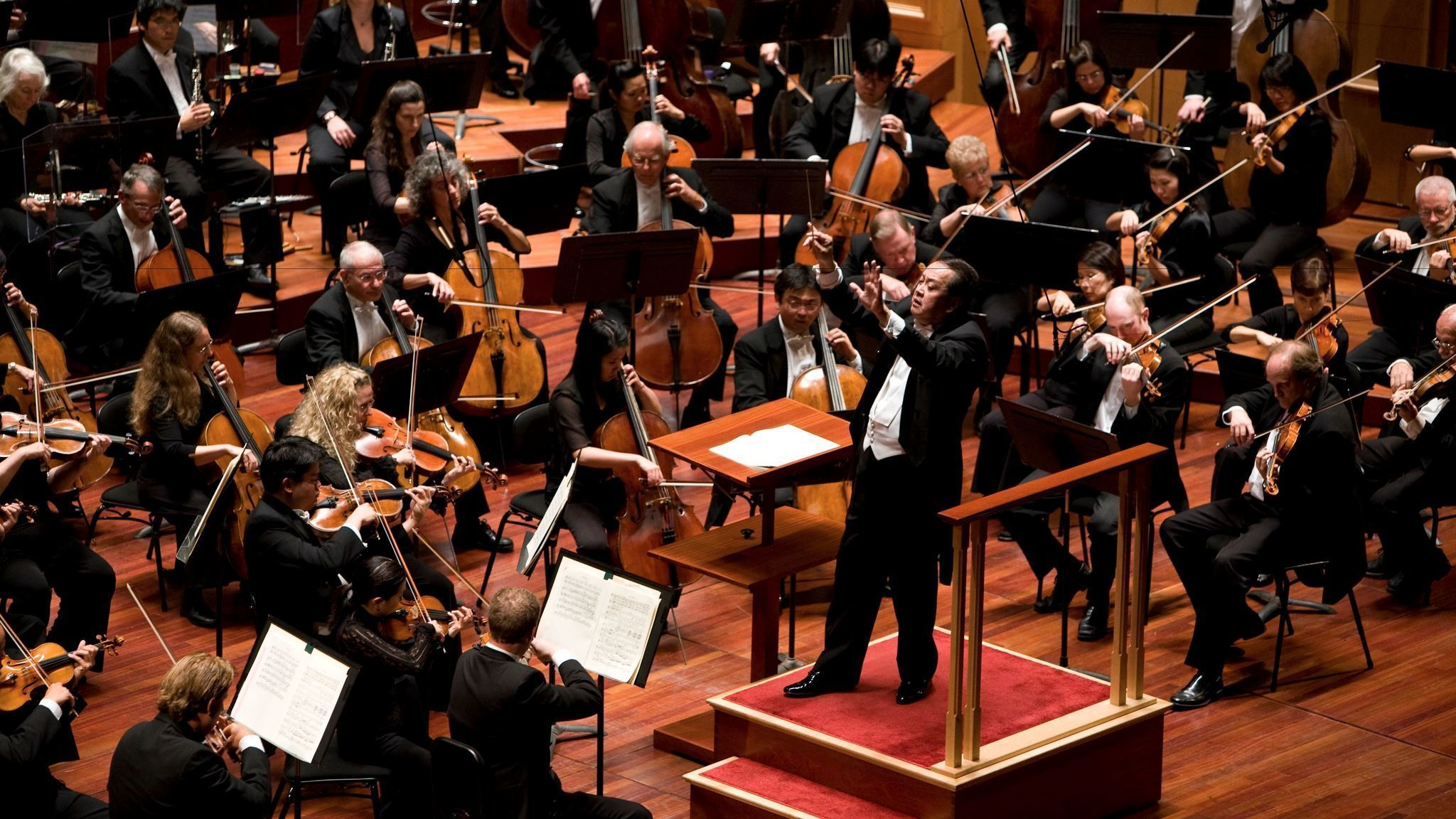 The image above shows a symphony playing classical music.