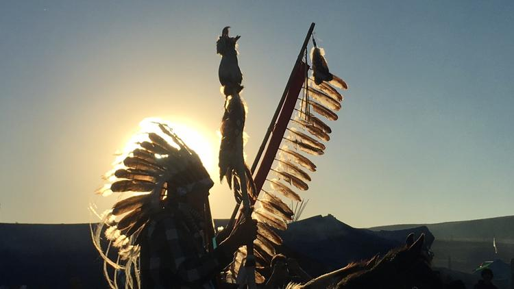 A man arrives at the Oceti Sakowin Camp in Cannon Ball, N.D., in September. The Standing Rock protest drew indigenous people from all over the continent.