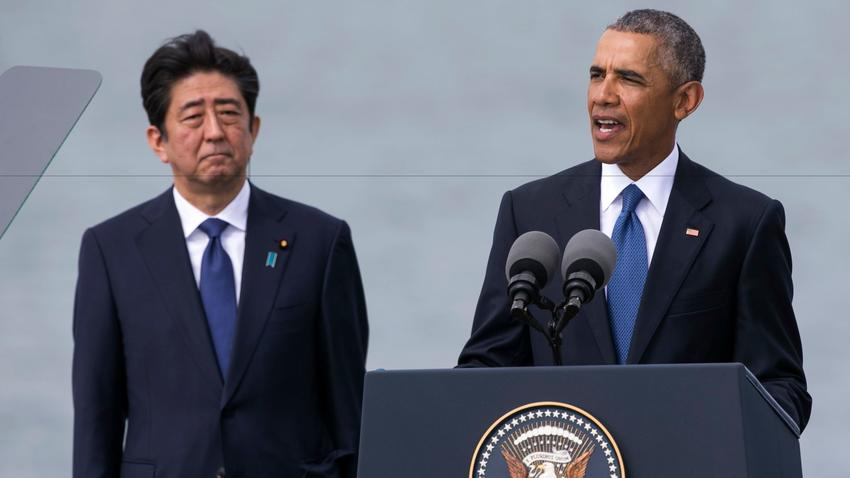Japanese Prime Minister Shinzo Abe and President Obama. (Marco Garcia / Associated Press)