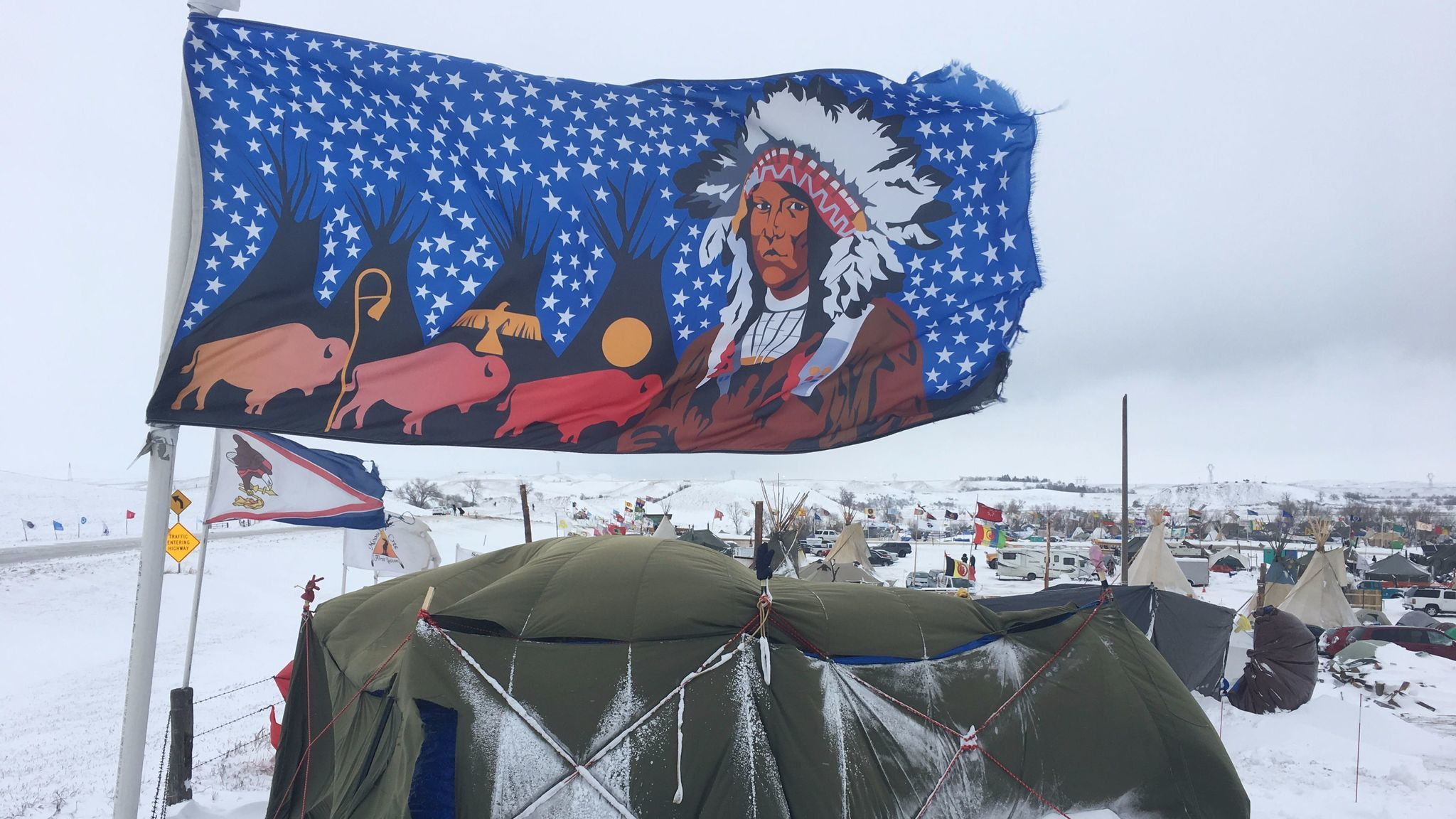 A protest camp at Standing Rock dusted in snow. (Doug McLean)