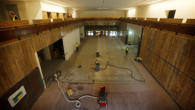 Workers push ahead this month with renovations on the Masonic Temple that will soon house the Marciano art contemporary art collection.