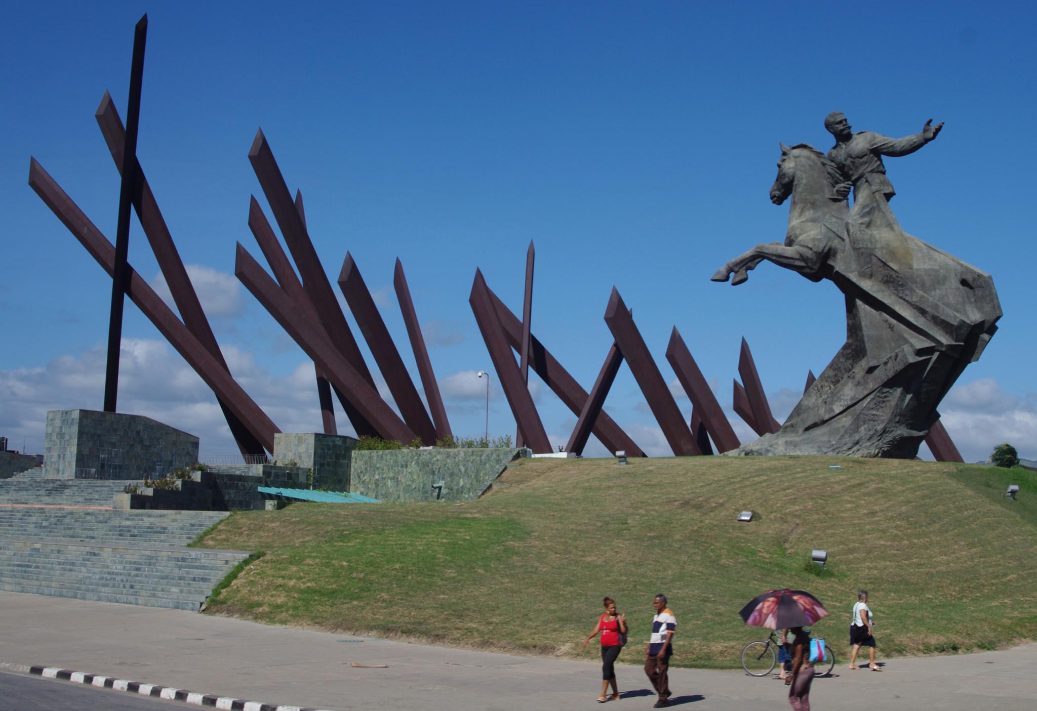 "Alberto Lescay's ""El Titan de Bronce"" (The Bronze Titan) at the center of Santiago de Cuba's Revolution Square."