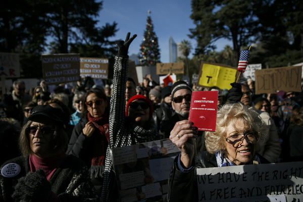 Protesters made their last stand before members of the electoral college gathered to vote on Dec. 19 at the State Capitol. (Marcus Yam/Los Angeles Times)