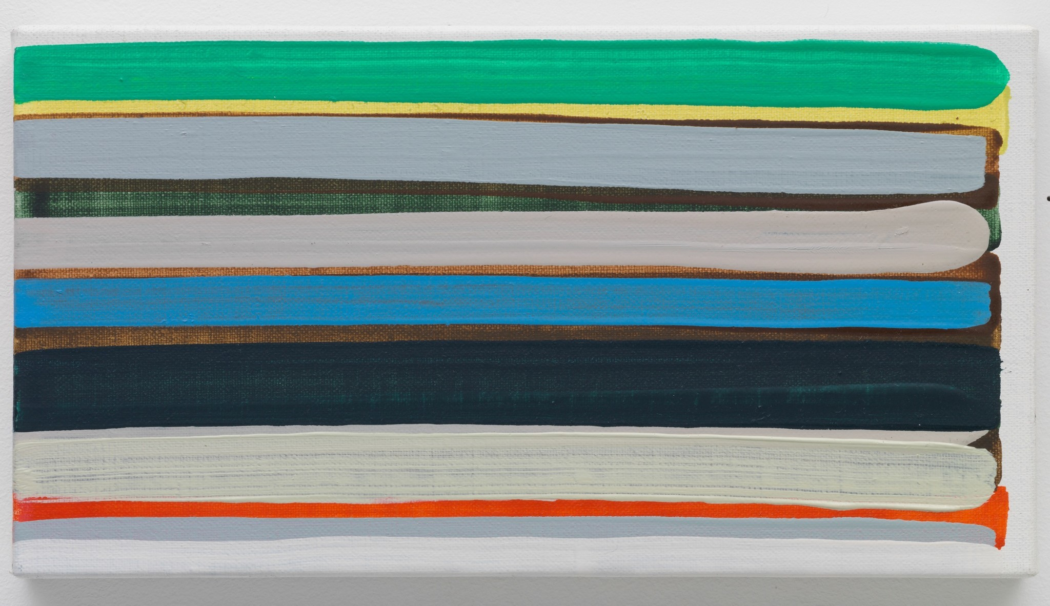 """Yui Yaegashi's """"White Line,"""" 2016, oil on canvas, 4.7 inches by 9 inches."""