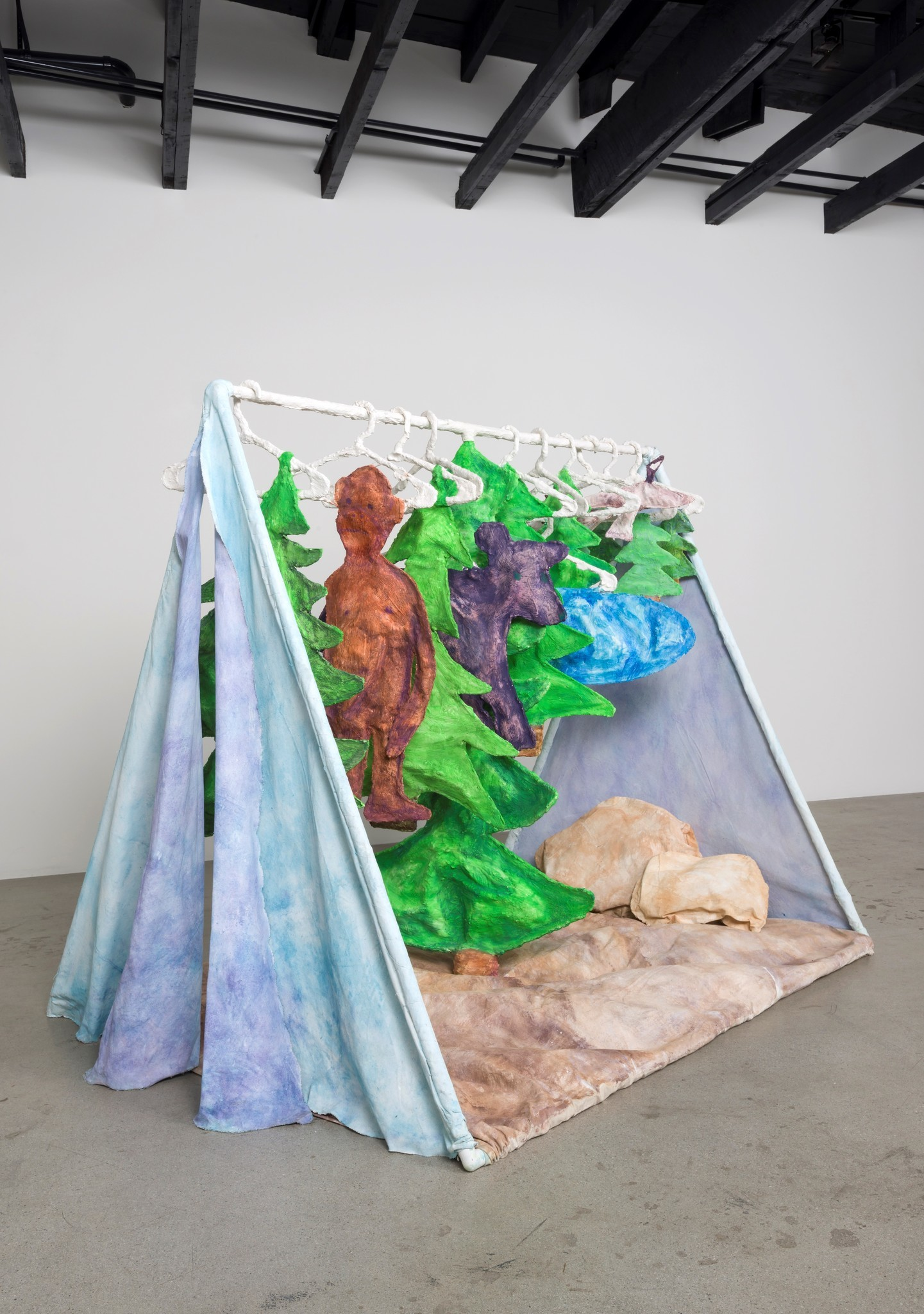 """Hannah Greely's """"The Great Escape,"""" 2016, canvas, hydrostone, aqua resin, PVC and tempera, 63 inches by 53 inches by 57 inches."""