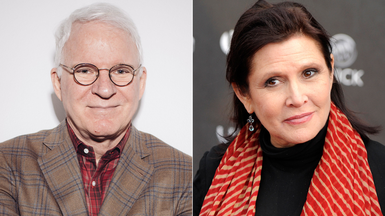 Steve Martin and Carrie Fisher. (Casey Curry / Invision / AP; Chris Pizzello / AP)
