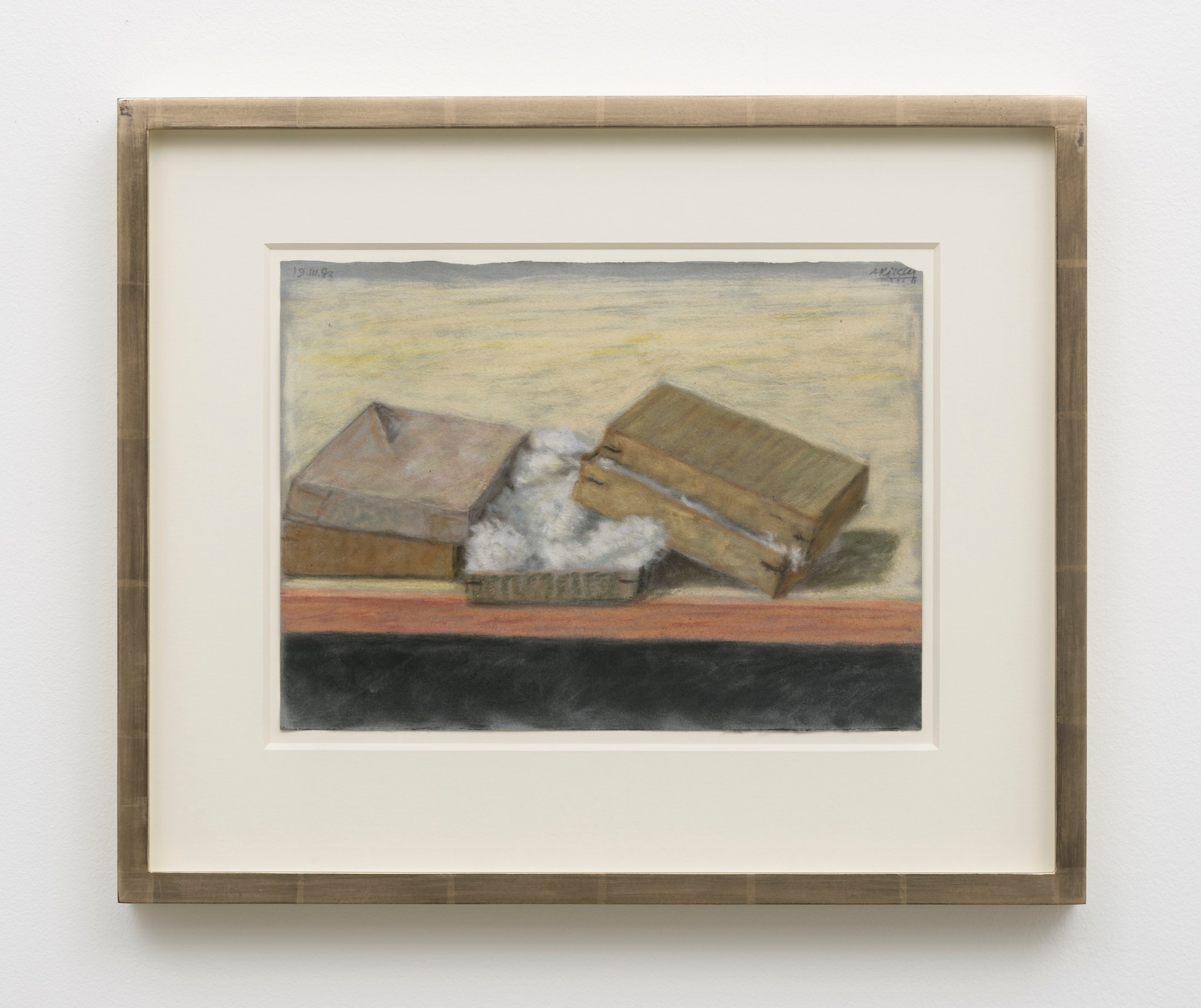 """Avigdor Arikha's """" Pastel Boxes,"""" 1983, pastel on paper, 9.5 inches by 12.5 inches."""