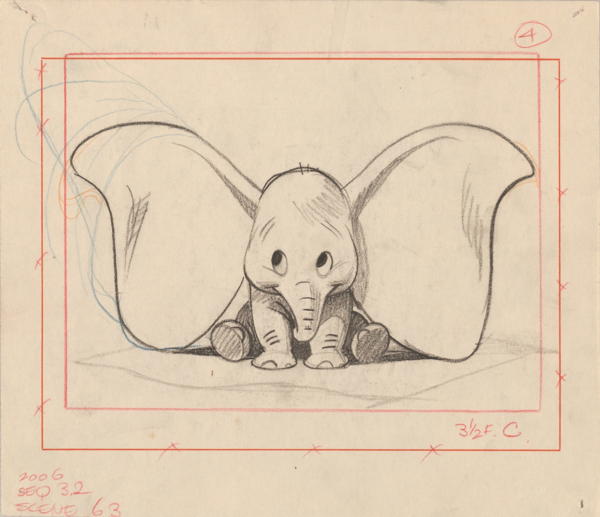 "A Bill Peet sketch for the 1941 film ""Dumbo."""