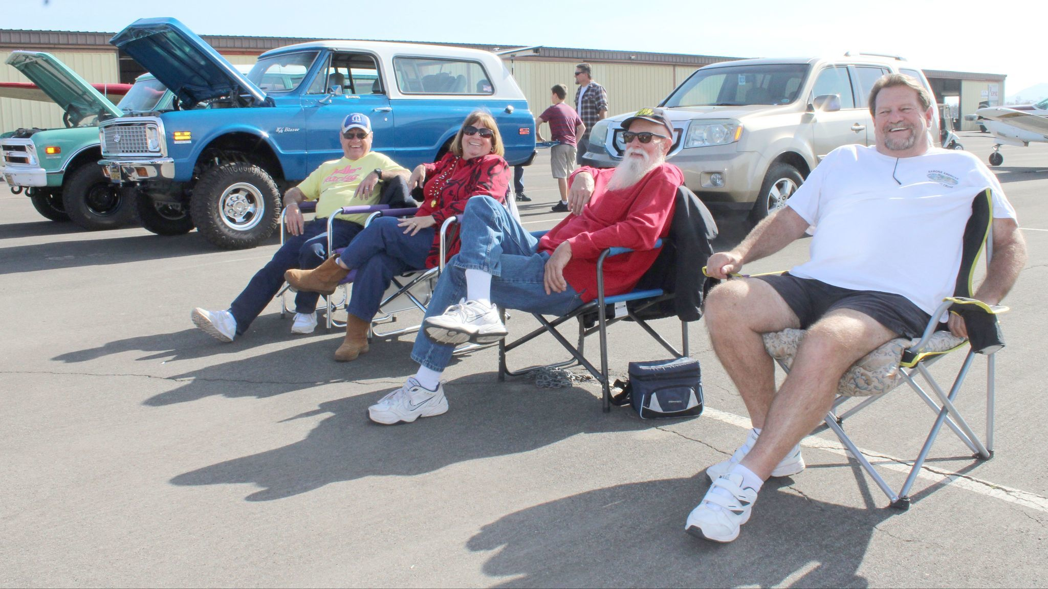From left, Jerry and Kristy Keller, Marvin Bauer and Jay Christopher are among car show participants.