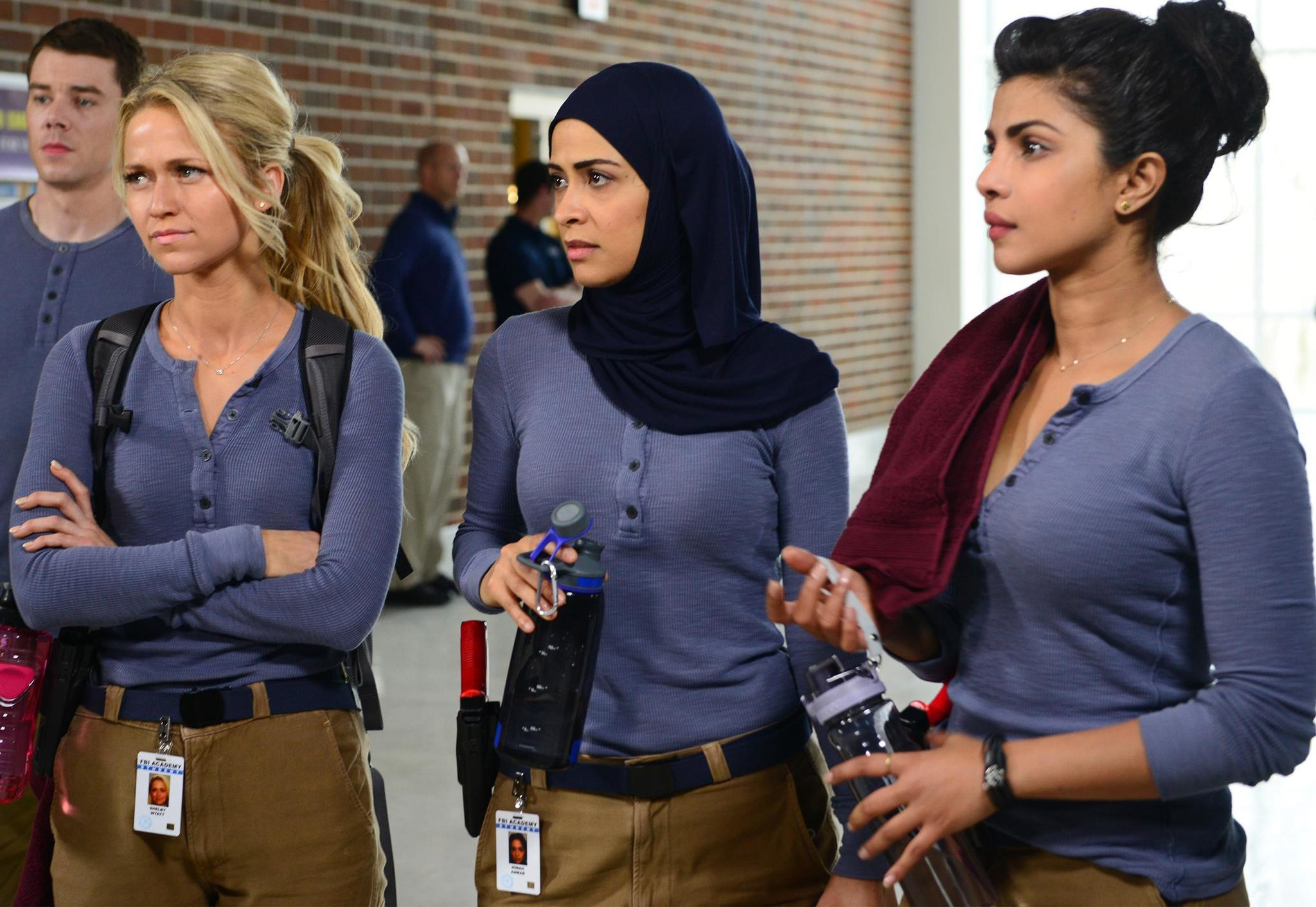 """Quantico's"" Priyanka Chopra, right, Yasmine Al Massri, Johanna Braddy and Brian J. Smith. (Guy D'Alema / ABC)"