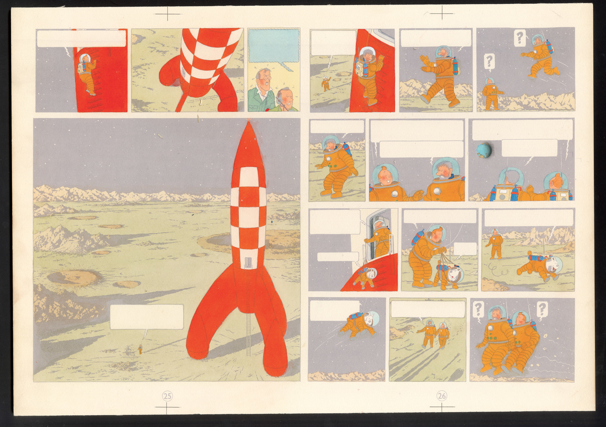 """The Adventures of Tintin: We Walked on the Moon,"" 1954, blue coloring of plates 25 and 26, watercolor and gouache on printed proof, from the collection of Studios Herg."