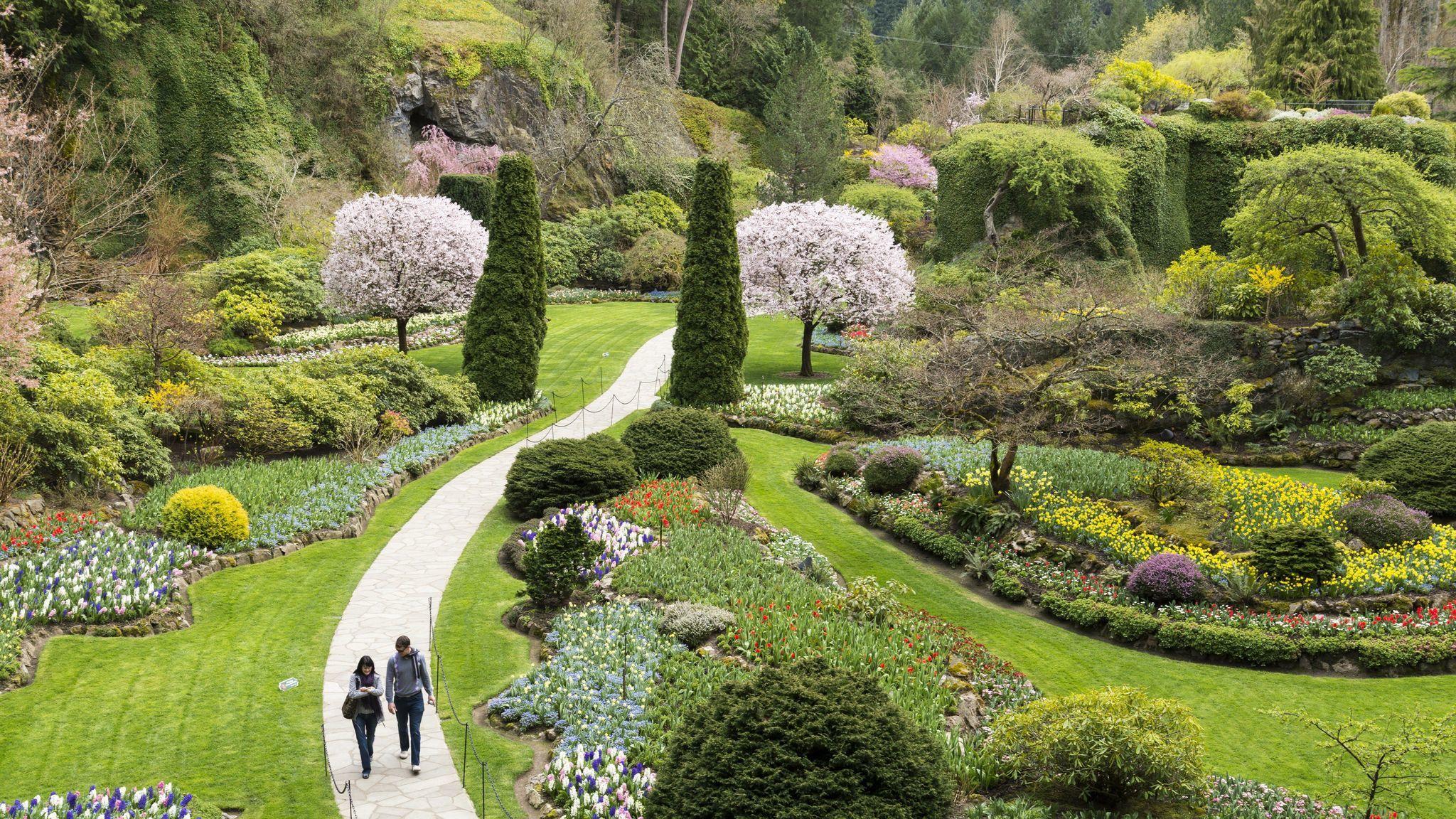 The Sunken Garden, Butchart Gardens, Brentwood Bay, Vancouver Island, British Columbia, Canada.