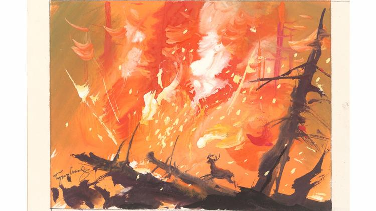A painting by Tyrus Wong that inspired Disney's Bambi.