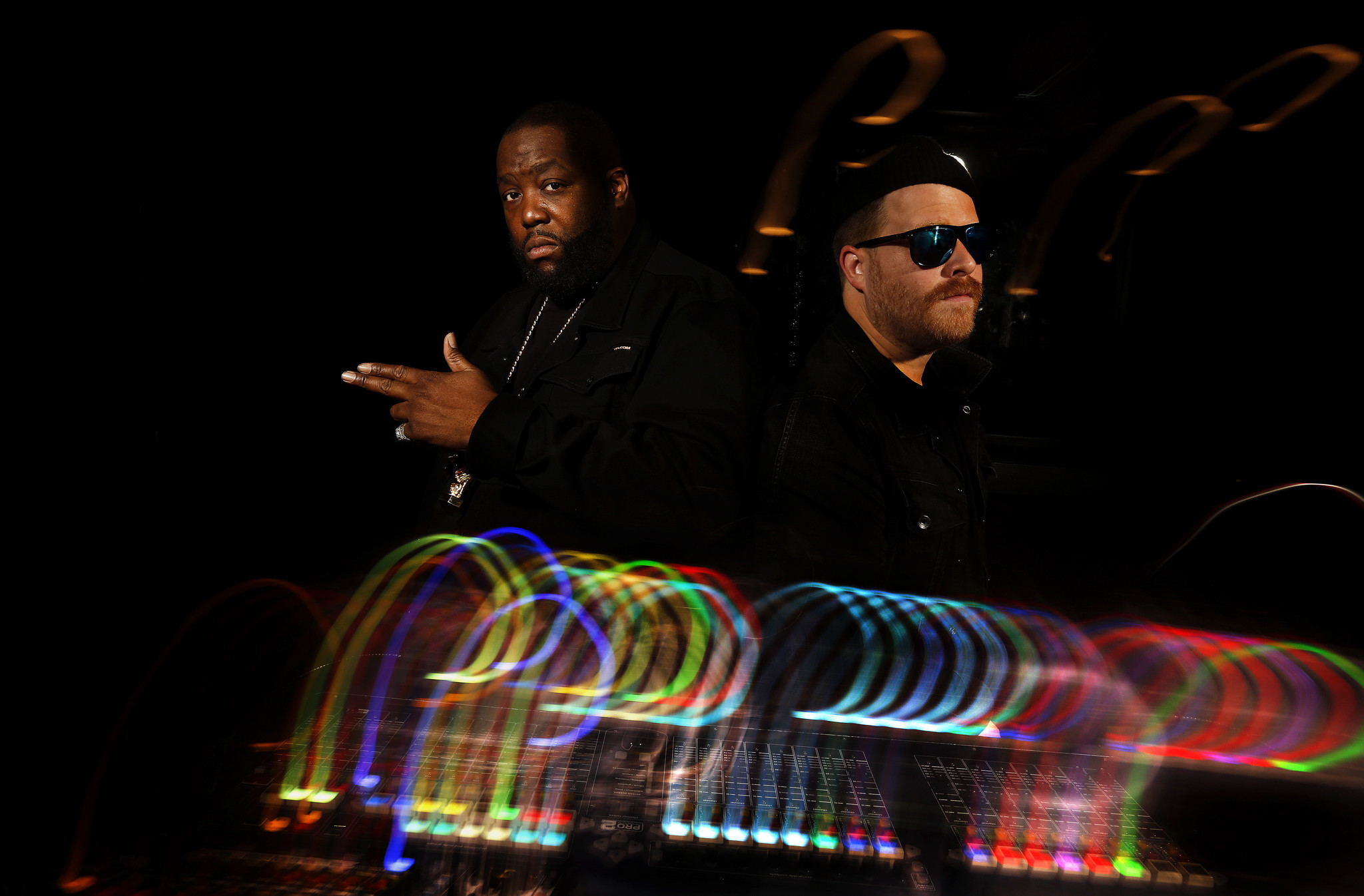 Killer Mike (Michael Render), left, and El-P (Jaime Meline) of the rap duo Run the Jewels. (Mel Melcon / Los Angeles Times)