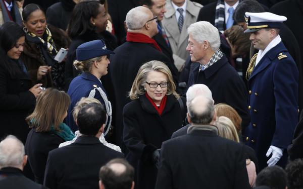 Bill and Hillary Clinton attend President Obama's second inauguration in 2013. (Brian Cassella / Chicago Tribune)