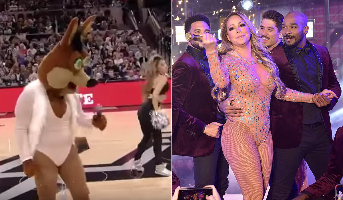 Watch the Spurs mascot spoof Mariah Carey's disastrous New Year's Eve performance