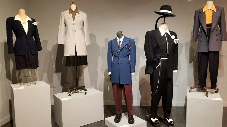 Zoot suits are part of an installation by John Carlos De Luna at the Vincent Price Art Museum.