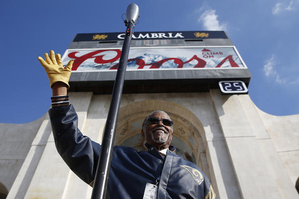 Former Los Angeles Rams star Rosey Grier at the Los Angeles Memorial Coliseum. (Robert Gauthier/Los Angeles Times)