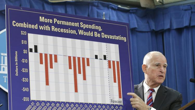 Gov. Jerry Brown unveiling the state budget on Jan. 7, 2016. (Rich Pedroncelli / Associated Press)