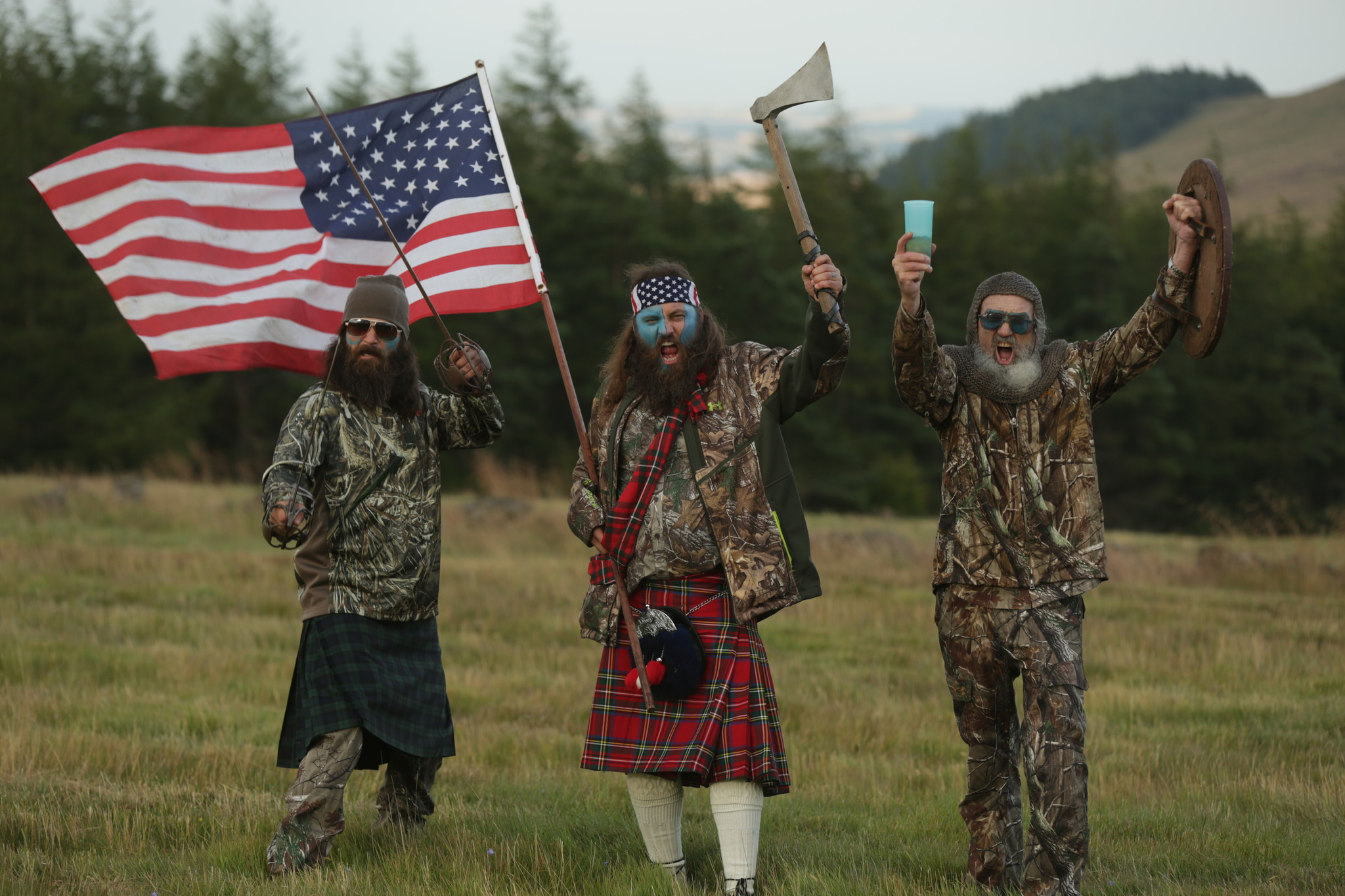 "Jep Robertson, left, Willie Robertson, center, and Si Robertson of A&E's ""Duck Dynasty."" (Gurney Productions)"