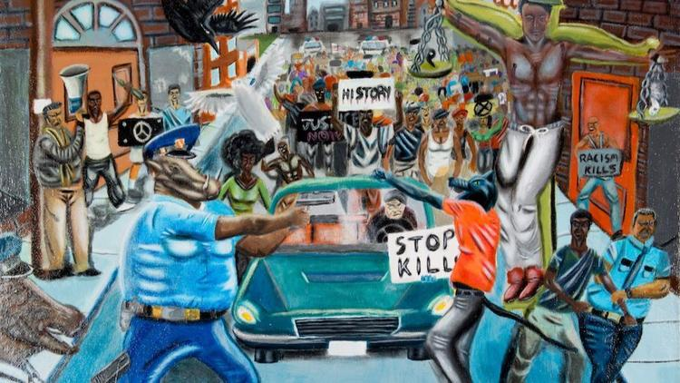 An award-winning student painting that depicted a police officer as an animal had hung on the walls of Congress for months. (Congressional Art Competition)