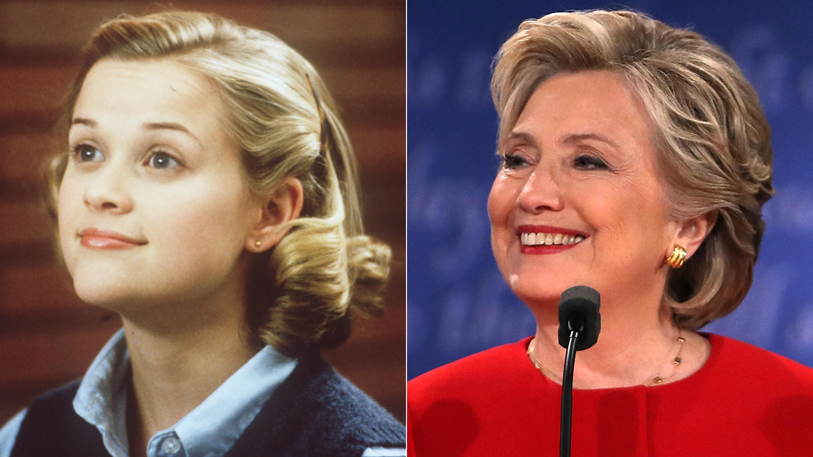 "Did Hillary Clinton encounter a Tracy Flick effect? In 1999's ""Election"" Reese Witherspoon's school government campaign affronts a male teacher. (Bob Akester / Paramount Pictures; Spencer Platt / Getty Images)"
