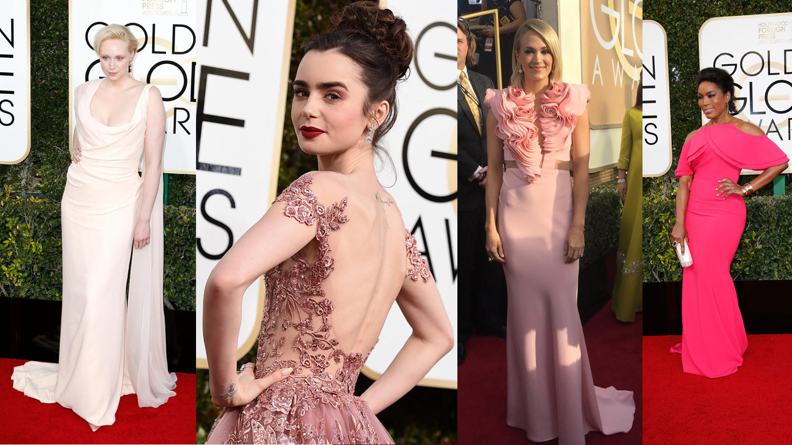 Pink is one of the major colors to pop up on the red carpet at the Golden Globes. (Strauss/Invision/AP; Jennifer Yamato / Los Angeles Times; (Jay L. Clendenin / Los Angeles Times)