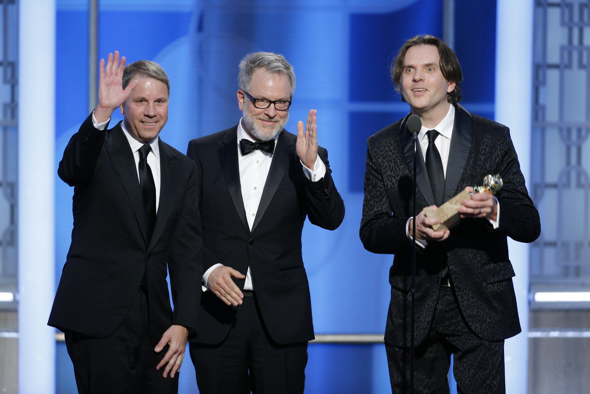 """The creators of """"Zootopia"""" accept the awards for motion picture -- animated at the Golden Globes (Getty Images)"""