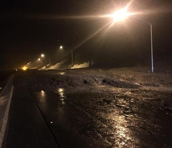 A mudslide at Donner Summit forced the closure of Interstate 80. (Handout / California Highway Patrol)