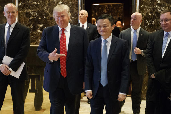 President-elect Donald Trump in Trump Tower on Monday with Chinese entrepreneur  Jack Ma, who founded Alibaba.Group. (Evan Vucci / Associated Press)