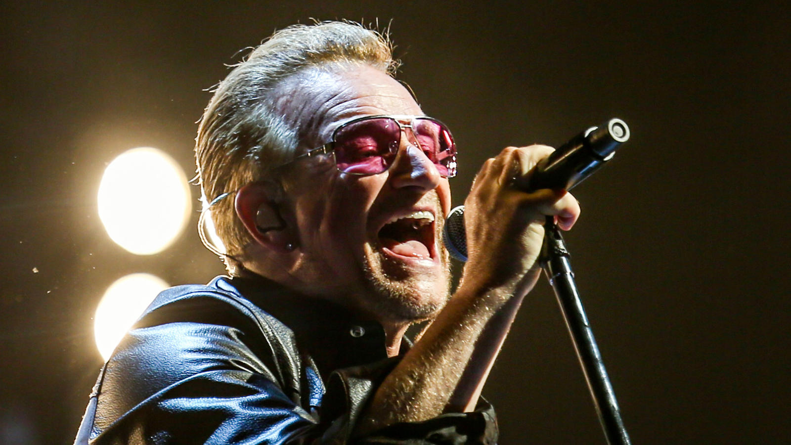 U2 frontman Bono performs at the Forum in Inglewood in 2015. (Rich Fury / Invision)