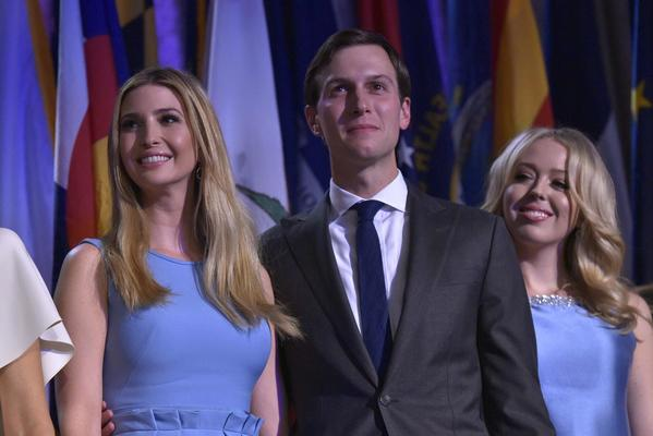Jared Kushner, the son-in-law of President-elect Donald Trump, is shown with wife Ivanka, left, and sister-in-law Tiffany Trump at the Hilton Midtown in New York. (Getty Images)