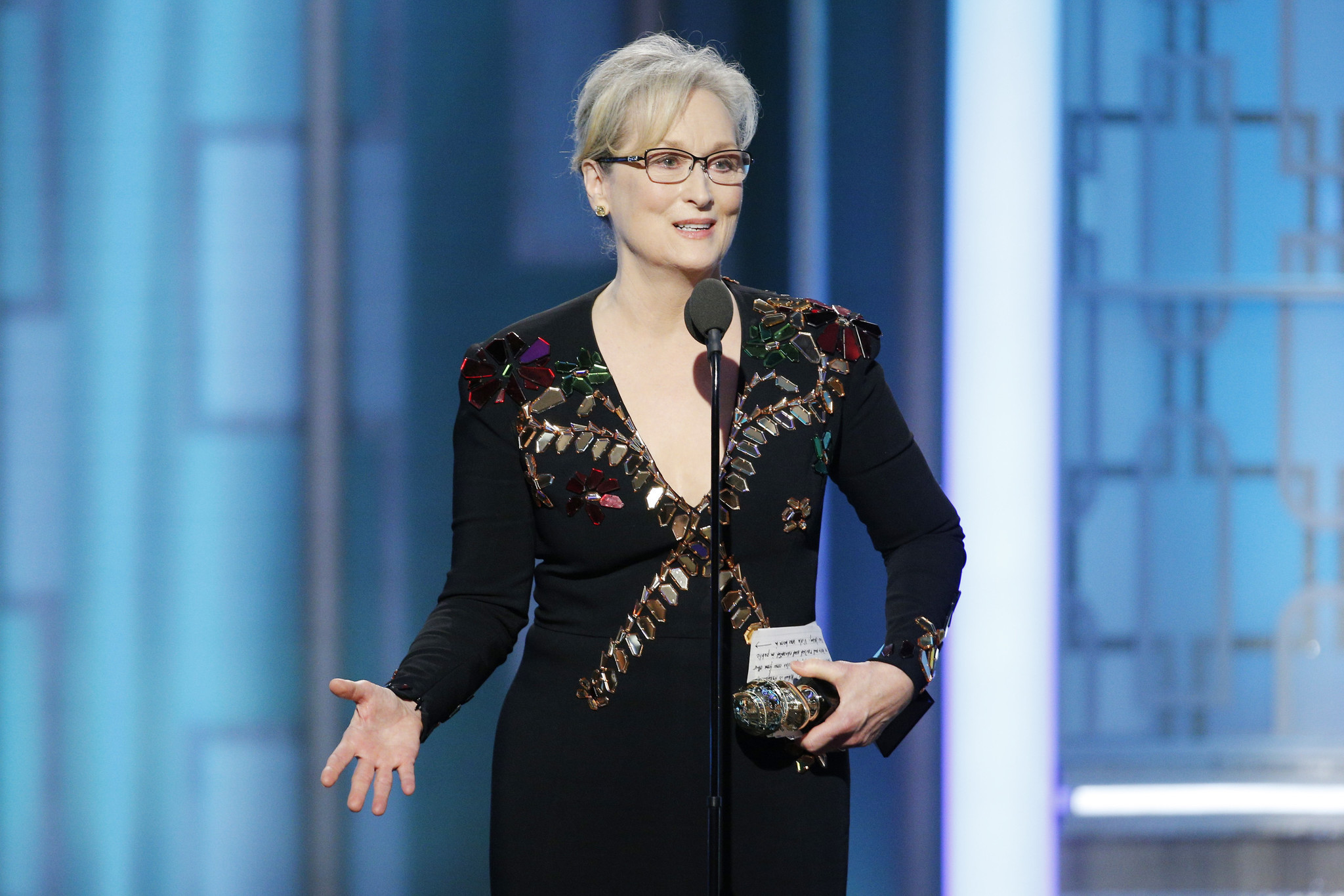 Meryl Streep accepts the Cecil B. DeMille Lifetime Achievement Award on Jan. 8 at the 74th Golden Globe Awards ceremony. (Getty Images)
