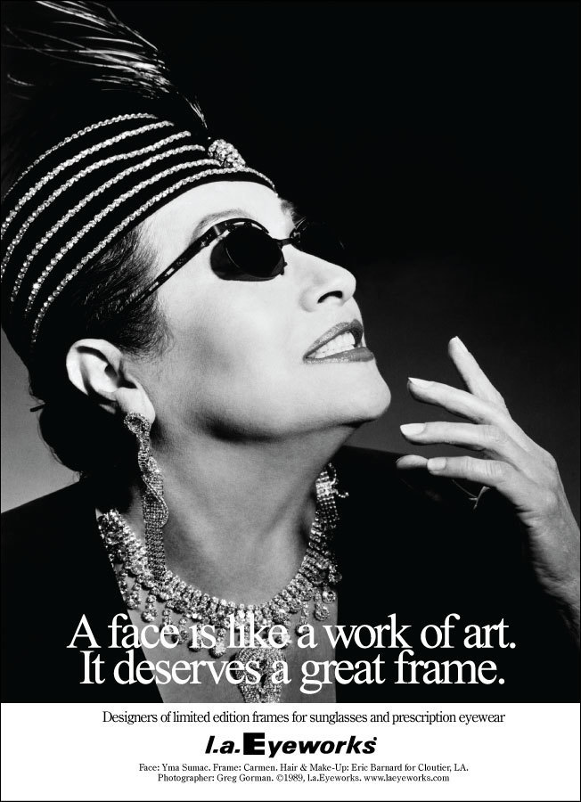 Yma Sumac's ad for l.a.Eyeworks in the 1980s.